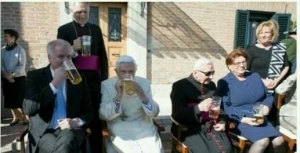 Former Pope, Benedict XVI, Drinks Beer As He Celebrates His 90th Birthday (Photos)
